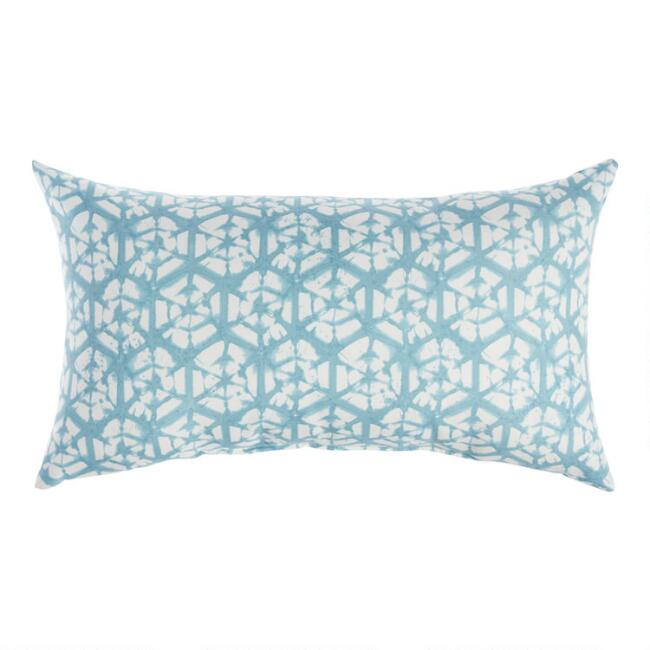 Blue And Ivory Shibori Sands Outdoor Lumbar Pillow