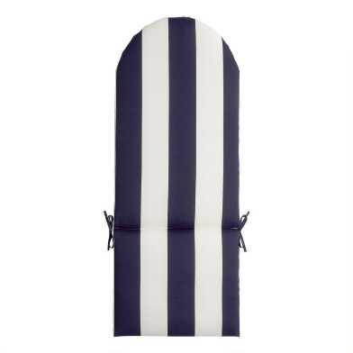 Navy Blue And White Awning Stripe Adirondack Chair Cushion