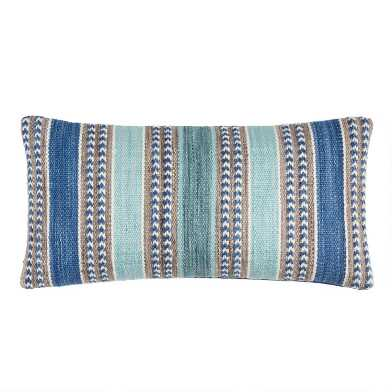 Blue Woven Stripe Indoor Outdoor Lumbar Pillow