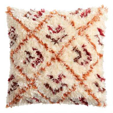 Ivory Multicolor Moroccan Shag Indoor Outdoor Throw Pillow