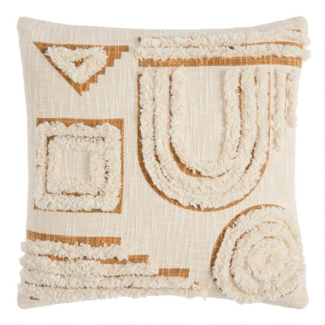 Ivory And Gold Tufted Abstract Throw Pillow