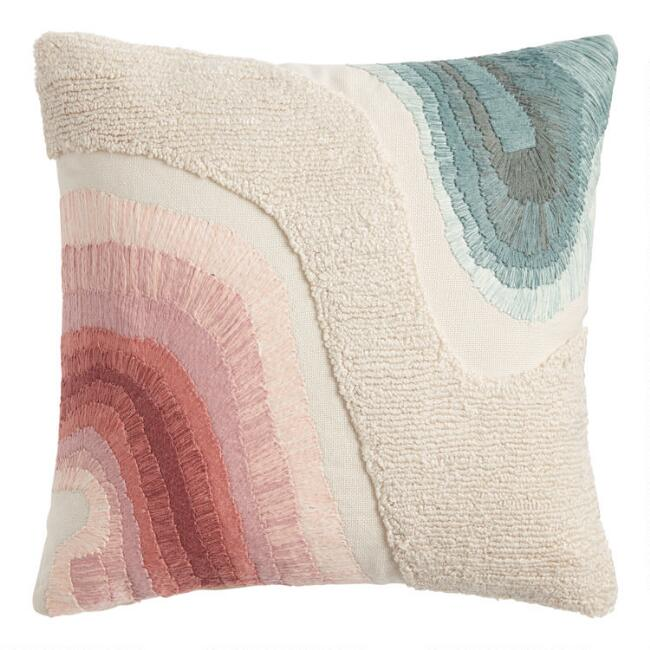 Pink, Ivory And Green Ombre Embroidered Throw Pillow