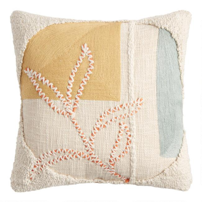 Ivory, Yellow And Teal Collage Leaf Throw Pillow