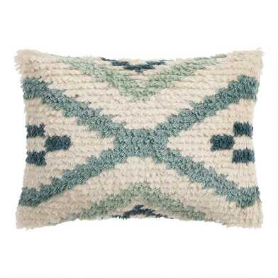 Sage And Ivory Moroccan Shag Indoor Outdoor Lumbar Pillow