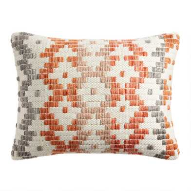 Rust, Ivory And Gray Geo Woven Indoor Outdoor Lumbar Pillow