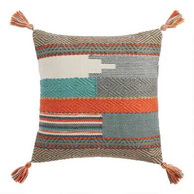 Woven Desert Tapestry Indoor Outdoor Throw Pillow