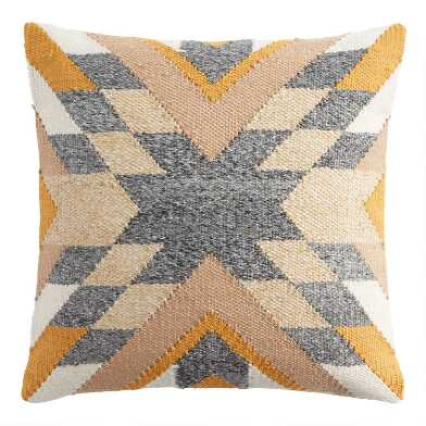 Yellow And Gray Geo Westward Indoor Outdoor Throw Pillow