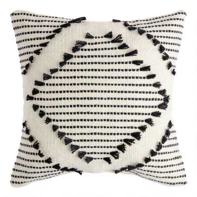 Black And Ivory Diamond Fringe Indoor Outdoor Throw Pillow