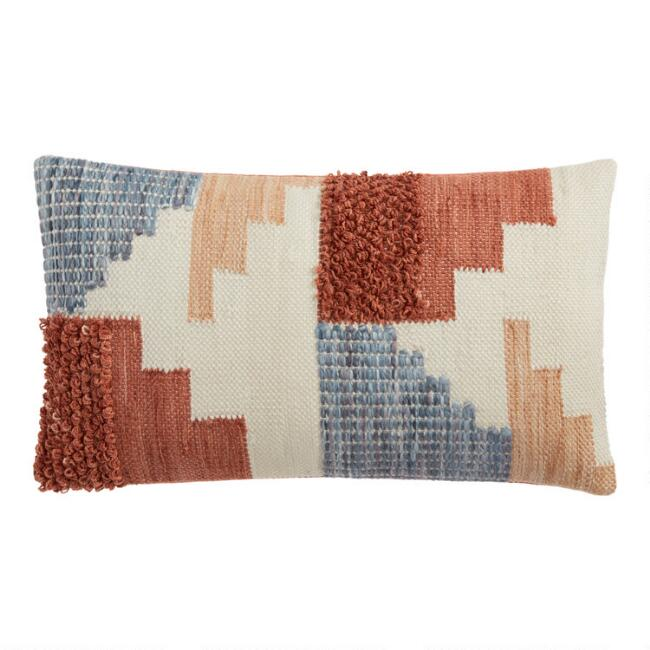 Rust And Gray Geo Indoor Outdoor Lumbar Pillow