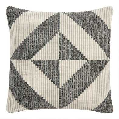 Gray And Ivory Geometric Indoor Outdoor Throw Pillow