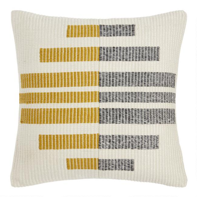 Gray, Yellow And Ivory Geo Indoor Outdoor Throw Pillow