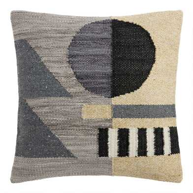 Black And Gray Abstract Geo Indoor Outdoor Throw Pillow