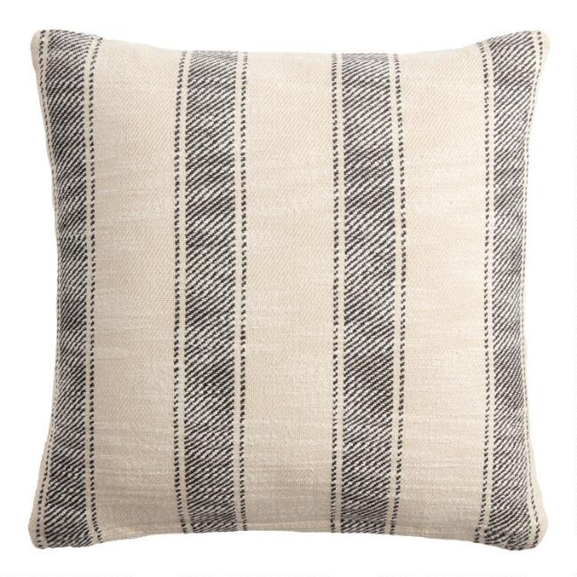 Black And Ivory Stripe Rustic Throw Pillow