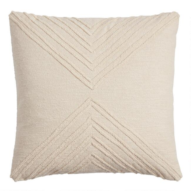 Ivory Geometric Embroidered Throw Pillow