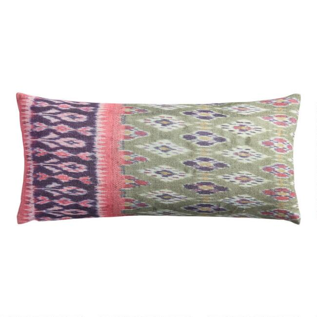 Oversized Blue, Pink And Green Ikat Printed Lumbar Pillow