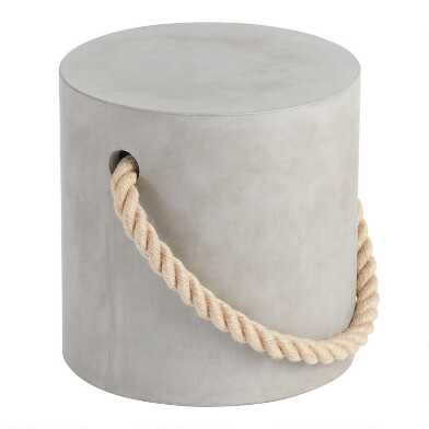 Cement And Rope Harlow Outdoor Accent Stool