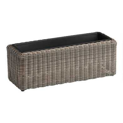 Long All Weather Wicker Outdoor Planter