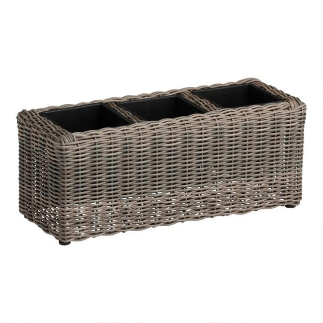 Long Divided All Weather Wicker Outdoor Planter