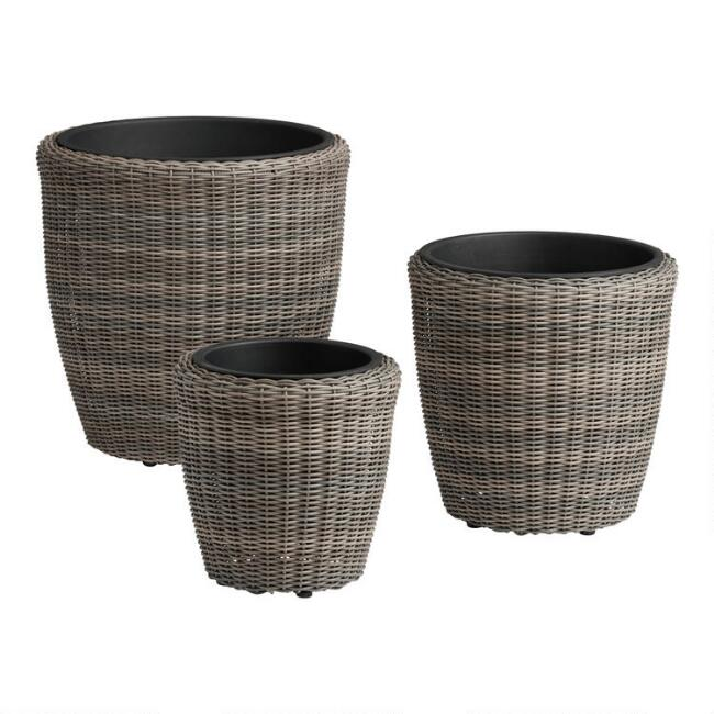Round All Weather Wicker Outdoor Planter 3 Piece Set