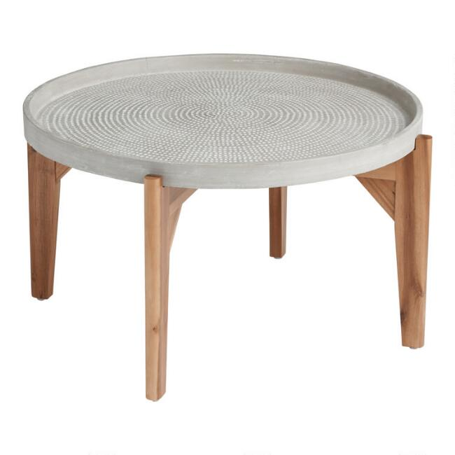 Large Round Gray Dotted Dorothy Outdoor Coffee Table