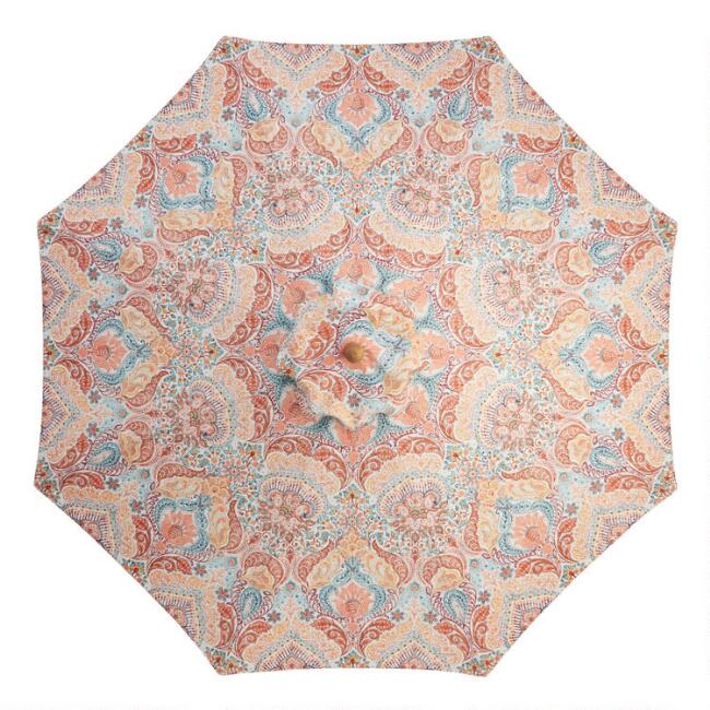 Coral and Blue Surf Damask 9 Ft Replacement Umbrella Canopy