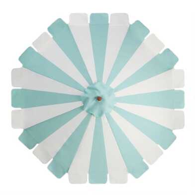 Aqua And White Scalloped 9 Ft Replacement Umbrella Canopy