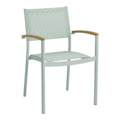 Aqua Metal And Wood Esperanza Outdoor Dining Chairs Set Of 2