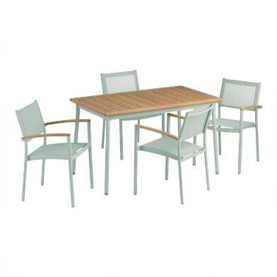 Aqua Metal And Wood Esperanza Outdoor Dining Collection