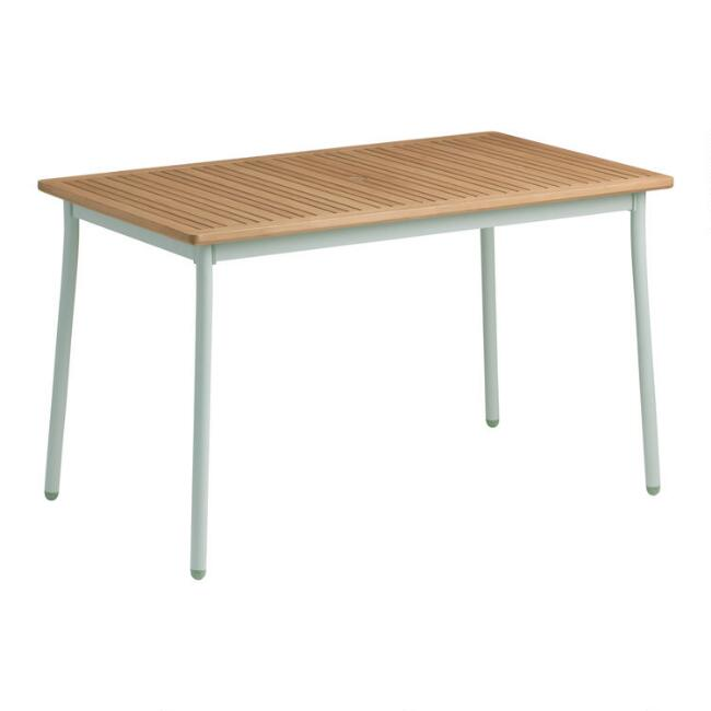 Aqua Metal And Wood Esperanza Outdoor Dining Table