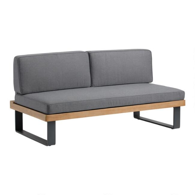 Gray Metal and Wood Alicante II Outdoor Bench