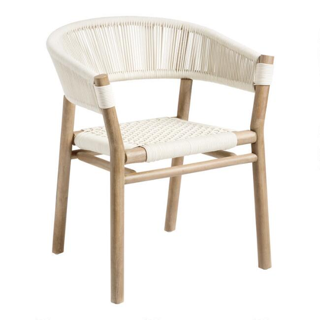 Antique White Rope Cabrillo Outdoor Dining Chair