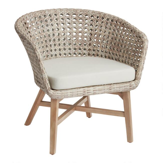 All Weather Wicker And Acacia Kandis Outdoor Chair