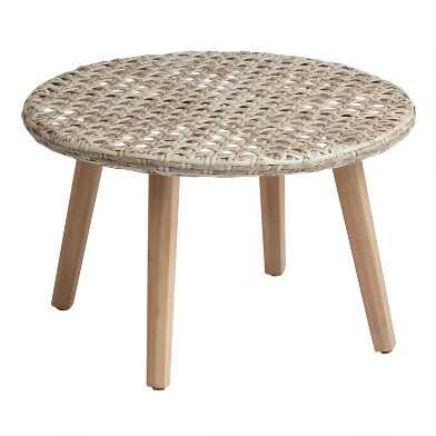 All Weather Wicker And Acacia Kandis Outdoor Coffee Table