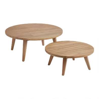 Round Acacia Nevis Outdoor Nesting Coffee Table 2 Piece Set