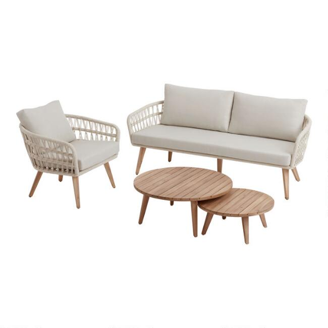 Antique White Woven Rope Nevis Outdoor Furniture Collection
