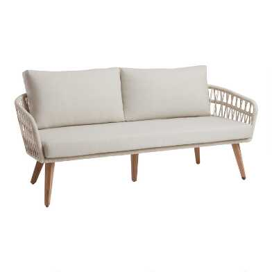 Antique White Woven Rope Nevis Outdoor Bench
