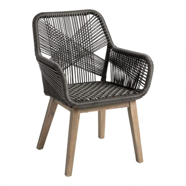 Gray All Weather Wicker Salento Outdoor Dining Armchair