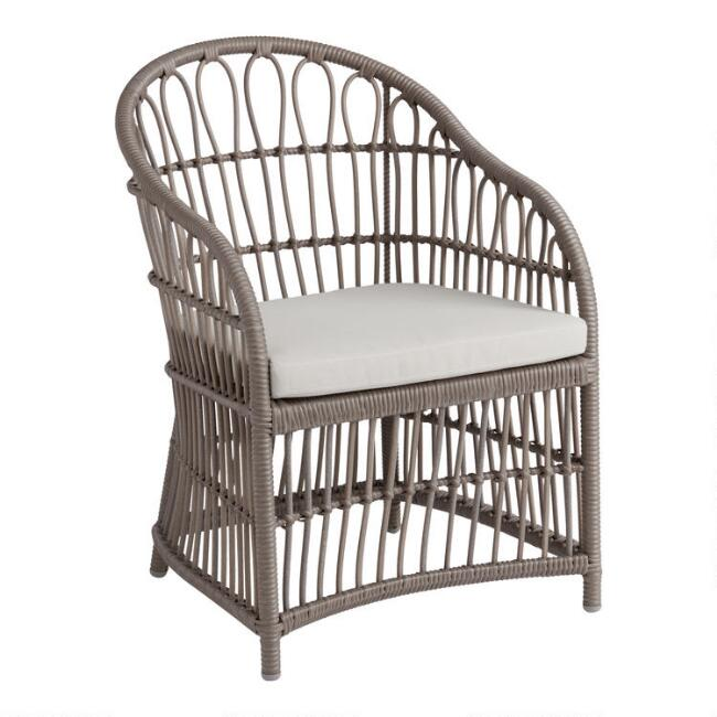 Gray All Weather Wicker Skyros Outdoor Dining Chair Set Of 2