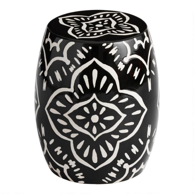 Black And White Cement Arianna Outdoor Accent Stool