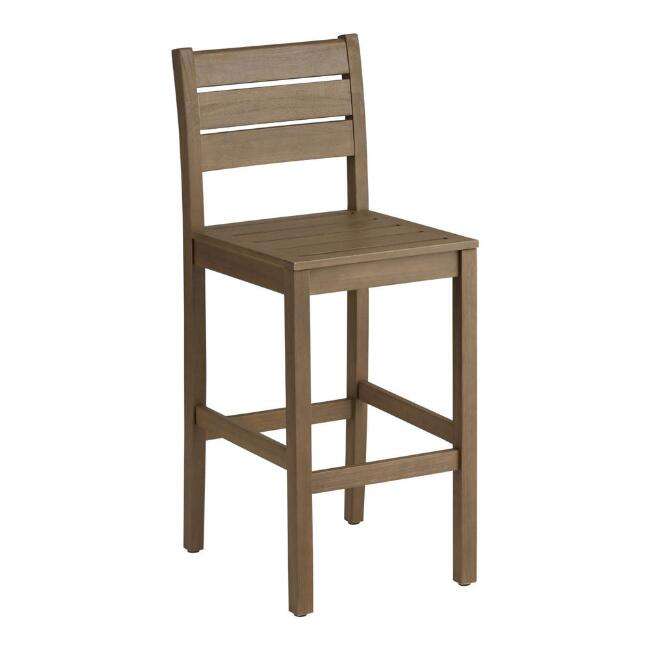 Natural Eucalyptus Zaragoza Outdoor Barstools Set Of 2