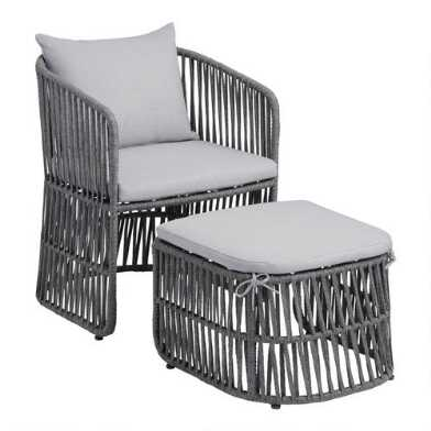 Gray Nautical Rope Rapallo Outdoor Lounge Chair And Ottoman