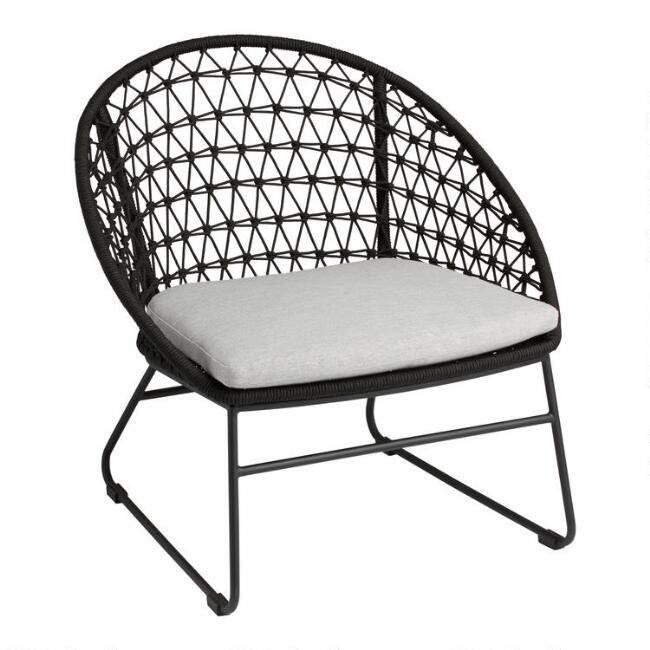 Black Crochet Woven Rapallo Outdoor Chair