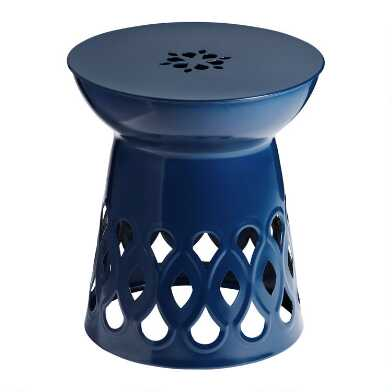 Peacoat Blue Metal Demetrios Outdoor Accent Table
