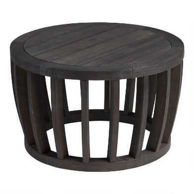 Round Dark Gray Barrel Wood Byron Outdoor Coffee Table