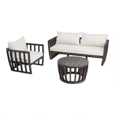 Dark Gray Barrel Wood Byron Outdoor Furniture Collection