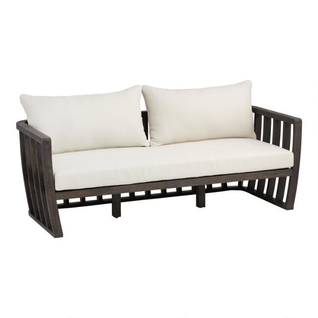 Dark Gray Barrel Wood Byron Outdoor Bench