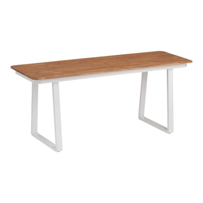 White Metal And Wood Catalonia Outdoor Dining Table