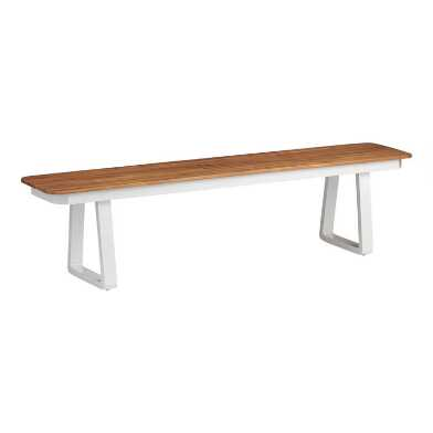 White Metal And Wood Catalonia Outdoor Dining Bench