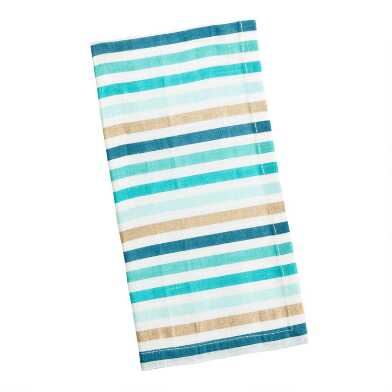 Blue and Metallic Gold Souk Stripe Napkins Set of 2