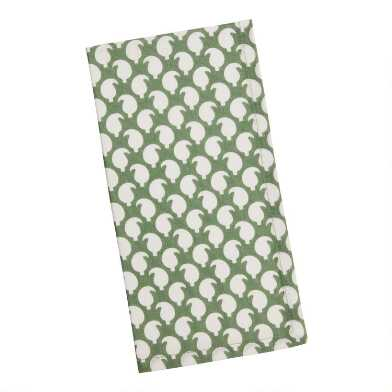 Green and White Teardrop Napkin Set of 4